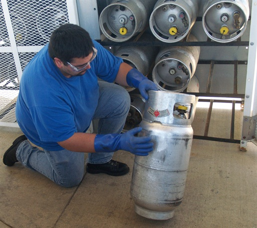 Refueling training offered by propane providers is one way to ensure that new propane-fueled forklift operators develop proper safety habits. Photo provided by PERC.