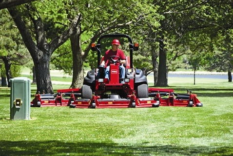 The Toro Groundsmaster 5900 features a 99 hp turbo-diesel engine with factory-installed climate-controlled cab.