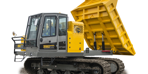 The Terramac RT14R crawler carrier features a 360-degree rotatable frame along with a 28,000-lb....