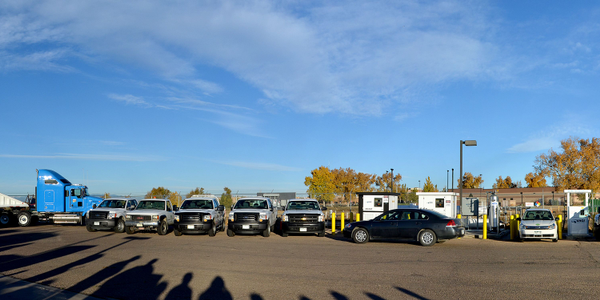 Pictured are Weld County, Colo., natural gas vehicles in front of its CNG fueling station. Photo...
