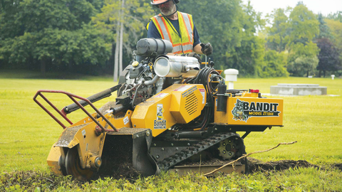 Bandit Industries' Model ZT1844 track-mounted stump grinder is available with two Kohler engine...