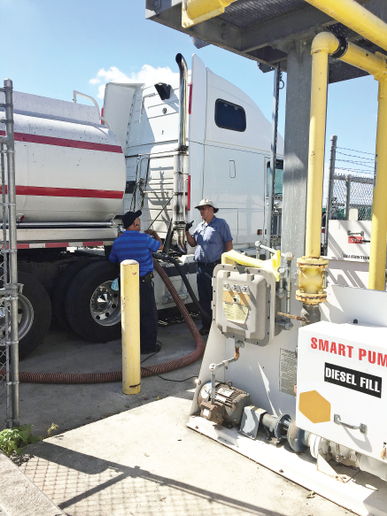 Miami-Dade County's severe weather-response plan covers the refueling of city-owned vehicles and publicly and privately owned generators. In this photo, two heavy equipmenttechnicians fuel a tanker at the county's bulk site. Photo courtesy of Miami-Dade County -
