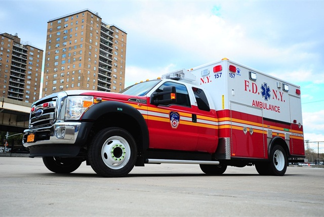 While the city has reduced its light-duty non-emergency fleet, it hasn't reduced its specialty or emergency vehicles. Pictured is a new Fire Department ambulance. Photo courtesy of New York City.