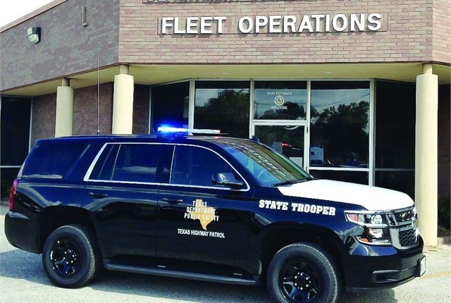 About 2,800 vehicles serve the Texas Highway Patrol, including Dodge Chargers, Ford Crown Victorias, and approximately 900 Chevrolet Tahoes. Photo courtesy of Texas DPS