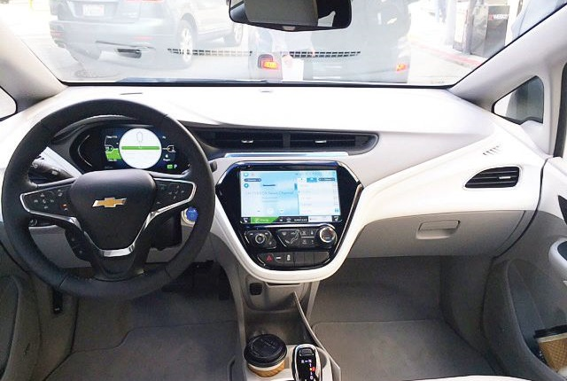 The Bolt EV's 8-inch driver information center and 10.2-inch diagonal color touch screen deliver an array of real-time vehicle information. Photo: Paul Clinton