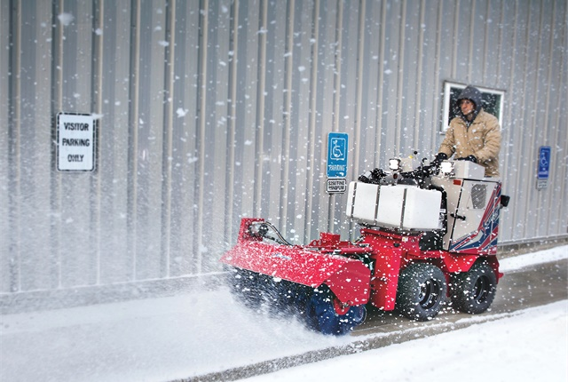 The Ventrac SSV is designed with an arsenal of snow removal attachments and de-icing options. Photo courtesy of Ventrac