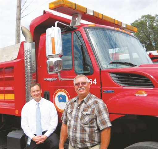 Bill McCarty, director, Office of Budget and Management (left) is pictured with Fleet Director Mike Palazzolo, newly hired to run the consolidated fleet. Photo courtesy of City of Springfield.