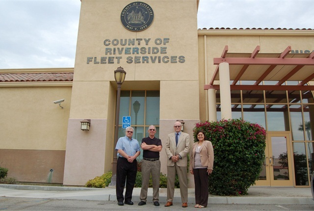 Pictured left to right are Doug Baracz, deputy director of fleet and purchasing; Ted Trujillo, fleet operations manager; Robert Howdyshell, director of purchasing and fleet services; and Lisa Brandl, incoming director of purchasing and fleet services.