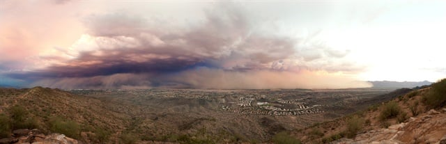 "Phoenix is prone to dust storms, the most intense of which are known as ""haboobs,"" one of which struck the city on July 31, 2011. Photo: Alan Stark"