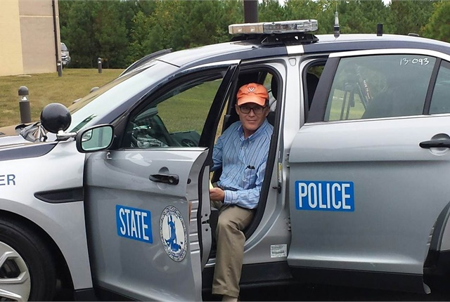 Gary Huband from the University of Virginia is pictured here during the Virginia State Police vehicle cybersecurity testing and demo. Photo courtesy of Barry Horowitz