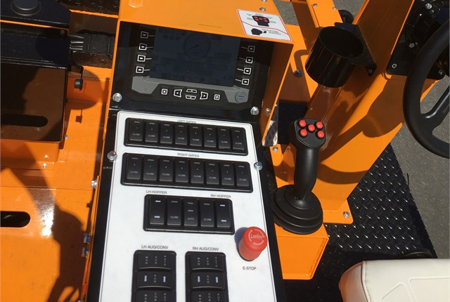 LeeBoy CSV816 operator controls are designed to meet Ergonomics ISO 6682 standards. Photo courtesy of VT LeeBoy