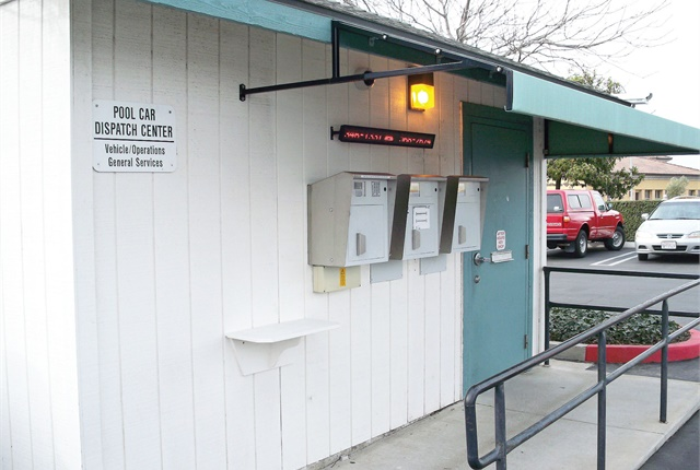 Santa Barbara County's motor pool system uses an automated key box, in which customers receive a code to access the lockbox for their keys. Photo courtesy of Santa Barbara County