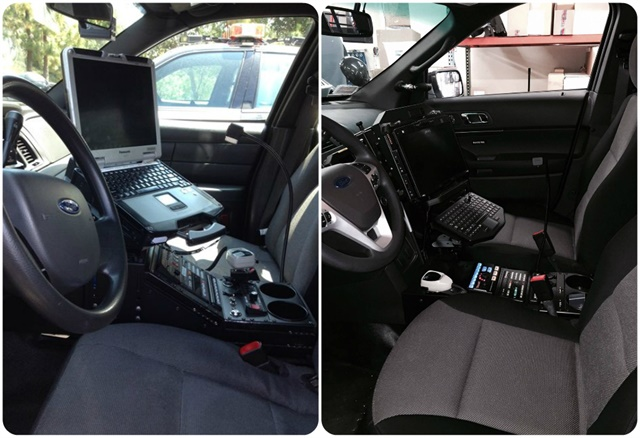 The OCSD made interior changes to its vehicles to improve safety, including adding magnetic mikes, moving the mobile dispatching console higher, and lowering the center console. These images show vehicles before (left) and after (right) the change. Photo courtesy of OCSD