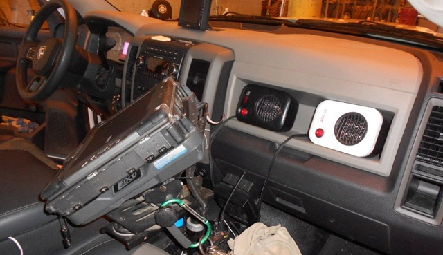 As a fuel-saving measure, OPPD installed auxiliary heater units to keep truck cabs comfortable in the winter. Photo courtesy of OPPD