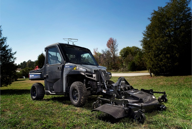 Polaris' Brutus ­HDPTO is a utility vehicle built for general ground maintenance and heavy lifting tasks. In addition to the finishing mower (pictured here), the unit offers five other attachments. 