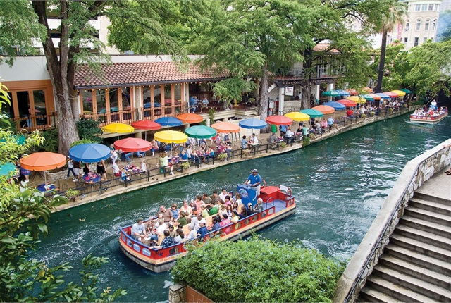 San Antonio's famed River Walk is lined with restaurants, hotels, and attractions, and features special events throughout the year.