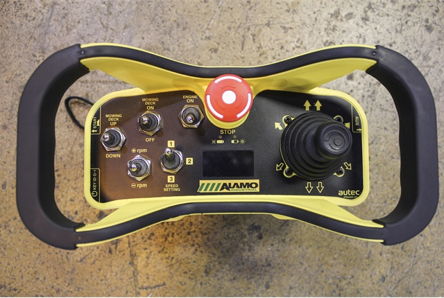 The remote radio controller, which features an LED display, boasts a range of up to 1,000 feet. Photo courtesy of Alamo Industrial