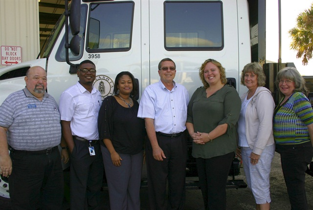 Greg Morris, CEM, fleet services manager for Sarasota County, Fla., (center) is pictured here with administration and acquisitions staff. Photo courtesy of Sarasota County, Fla.
