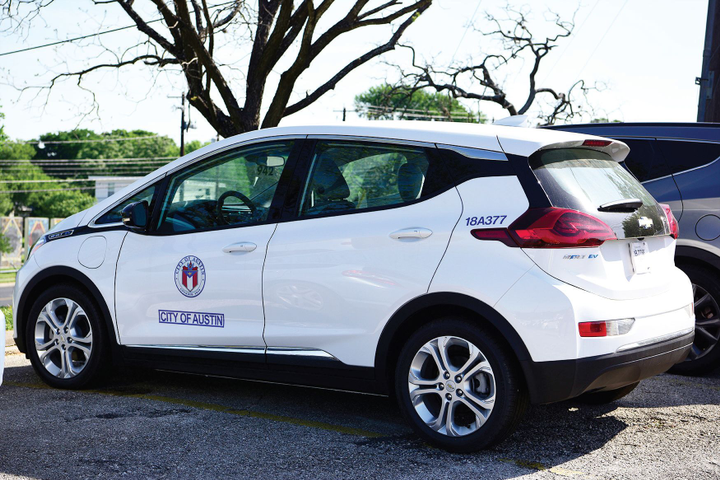 More than 80% of the City of Austin's fleet vehicles run on alternative fuels or are alternative-fuel capable, including this Chevrolet Bolt electric car.