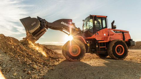 The Doosan DL280-5 is the company's latest wheel loader in the 3- to 4-cubic-yard category.