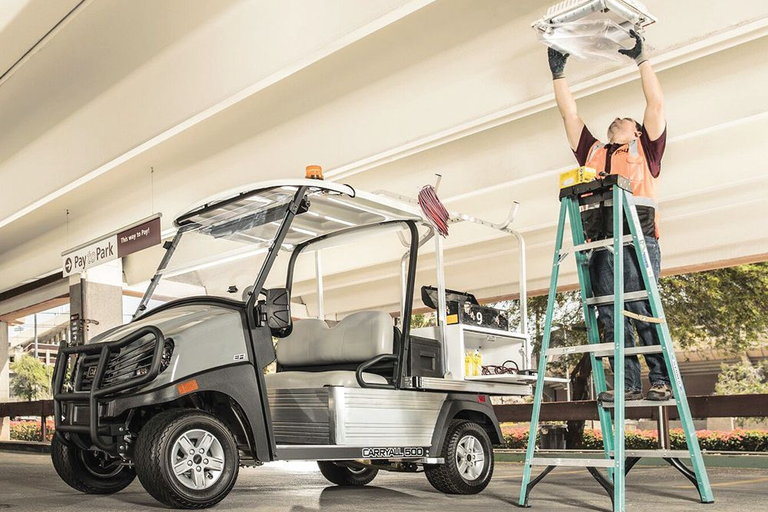 The Carryall 500 Facilities Engineering vehicle features a mounted toolbox system.