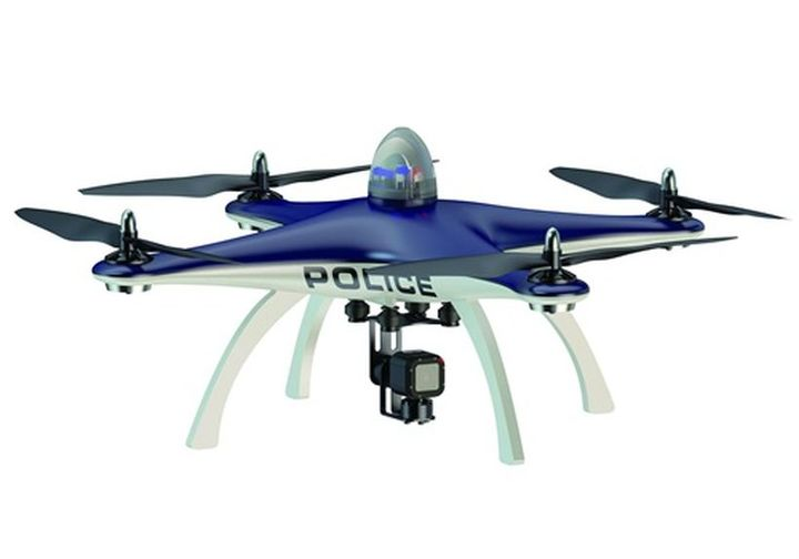A law enforcement unmanned aerial system, or drone.