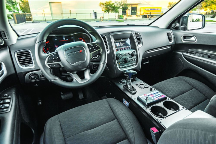 Cabin dimensions in the 2019 Dodge Durango Pursuit provide a comfortable ride even for taller officers.  - Photo by Kelly Bracken