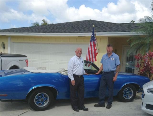 Tim (left) and Patrick (right) Calhoun,with Tim's '71 Cutlass.Photo courtesy of Tim Calhoun