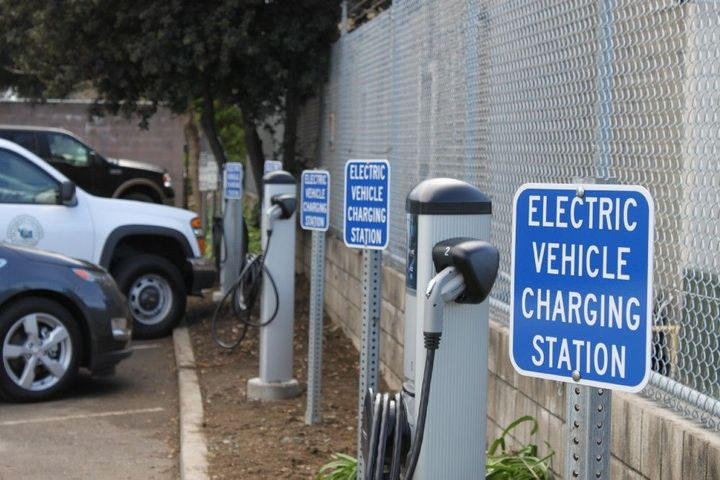 Pictured are electric vehicle charging stations for Alameda County, Calif., fleet vehicles