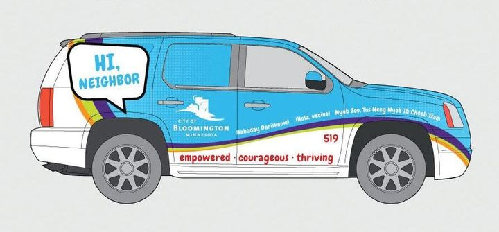 Designed to catch the attention of residents, the vehicle is colorful with a friendly message written in several languages. - Image courtesy of City of Bloomington