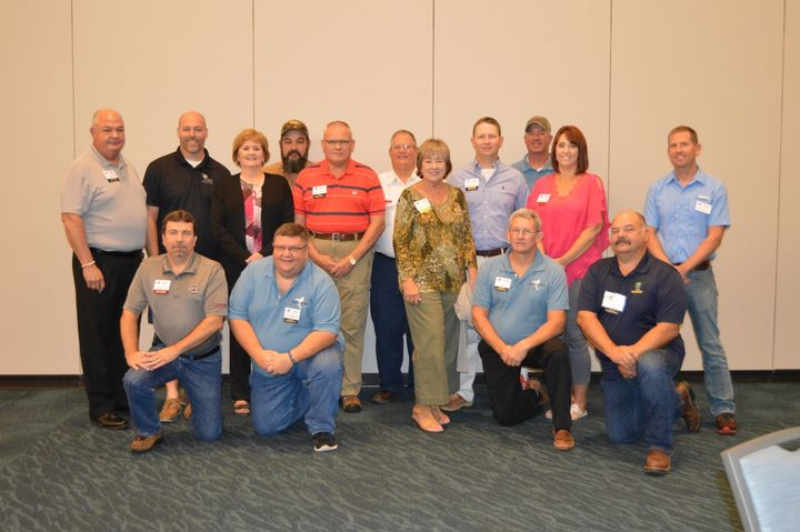 Board members of the SGFMA include: (back row, l-r): Keith Shields, Joe Stone, Debbie Chappell, Ron Nickles, Wayne Parker, Leroy Young, Karen Hyatt, Will Smoak, Garland Veasey, Sheila James, and Chuck Cook; (front row, l-r): Gene Jordan, Fred Kracke, Brian Wood, and Scott McIver.