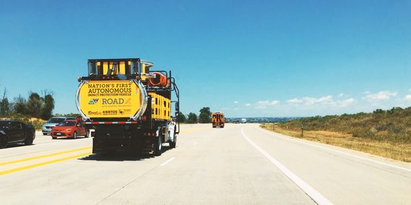 The Tennessee DOT is testing an autonomous truck mounted attenuator (ATMA) truck similar to this...