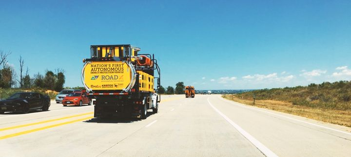 The Tennessee DOT is testing an autonomous truck mounted attenuator (ATMA) truck similar to this one. - Photo courtesy of Royal Truck & Equipment