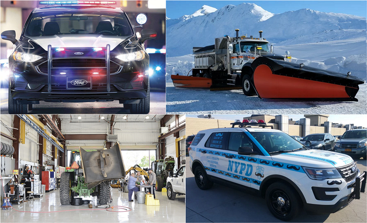 Popular features in 2019 include police vehicles, snowplows, and shop management. - Photos courtesy of (clockwise from top left) Ford, Jim Park, NYPD,and Sarasota County Communications Dept.