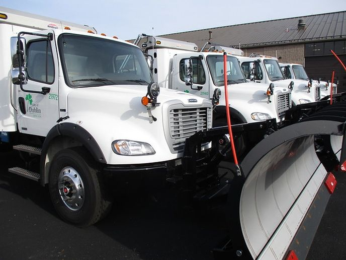 The City of Dublin has a total of 22 snowplows and just took delivery of four new ones powered by compressed natural gas (CNG). - Photo courtesy of City of Dublin