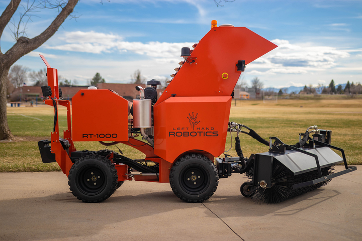 The RT-1000is a self-driving, commercial outdoor robot that can be used as a commercial field mower and for snow clearing. - Photo courtesy of Left Hand Robotics