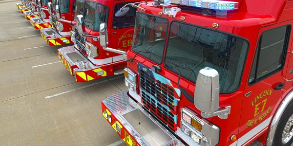 The new fire engines replace aging vehicles that have high mileage and need frequent repair.