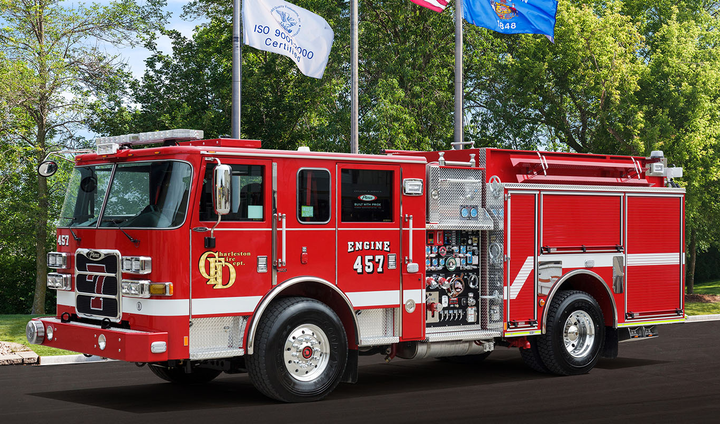 Pictured is Pierce pumper truck delivered to Charleston Fire Department in West Virginia. - Photo courtesy of Pierce