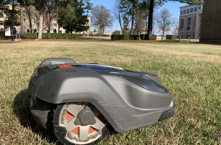 Each Husqvarna automower can mow for about four and a half hours before it needs to be charged. - Photo courtesy of Arkansas State University