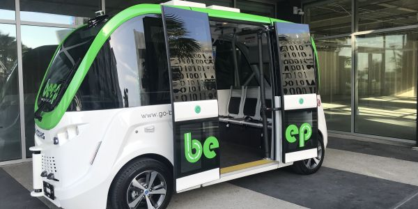 The autonomous shuttle holds up to 10 passengers at a time and will operate at a maximum speed...