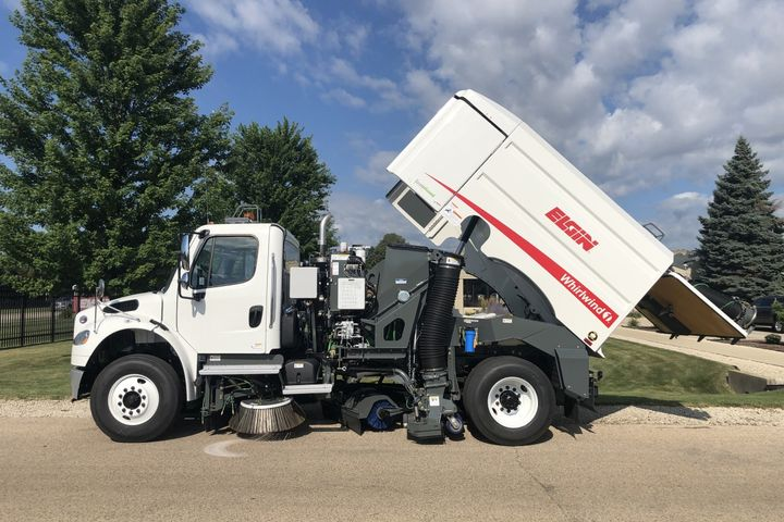 The Whirlwind1 is ideally suited for uneven, patched roads and jobs involving dirt, sand, millings, and road debris. - Photo courtesy of Elgin