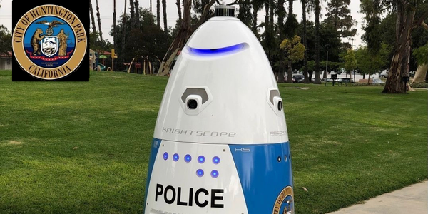 A autonomous security robot was deployed in Huntington Park, Calif.