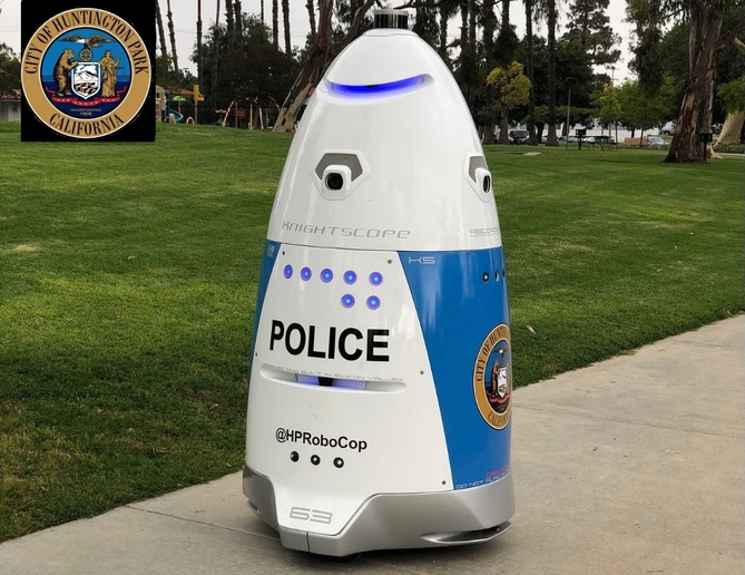 A autonomous security robot was deployed in Huntington Park, Calif. - Photo courtesy of Knightscope