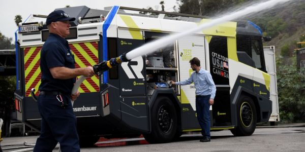The Los Angeles Fire Department expects to take delivery of the new electric fire engine in...