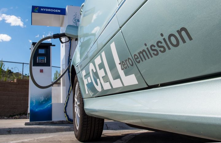 A fuel cell vehicle is pictured at a hydrogen dispensing system at the Energy Systems Integration Facility (ESIF) at NREL. - Photo: Dennis Schroeder/NREL