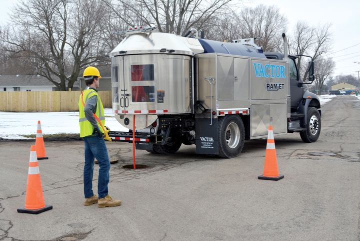 The Vactor Ramjet comes with a standard Jet Rodder water pump that delivers smooth continuous flow at the nozzle for general cleaning and root cutting. - Photo courtesy of Vactor Manufacturing