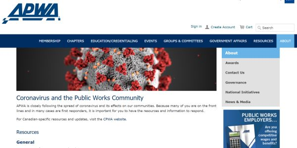 APWA Releases COVID-19 Resources Webpage