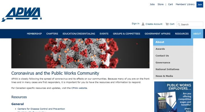 - Screencapture of APWA's coronavirus resource webage