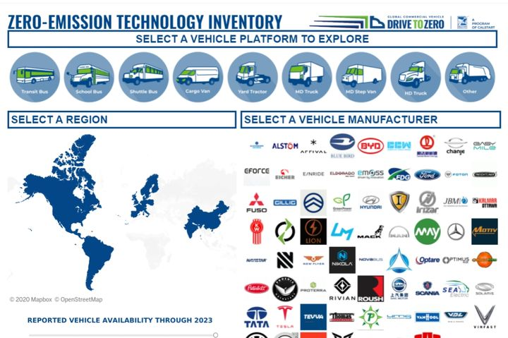 - Screencapture of Zero-Emission Vehicle Inventory tool