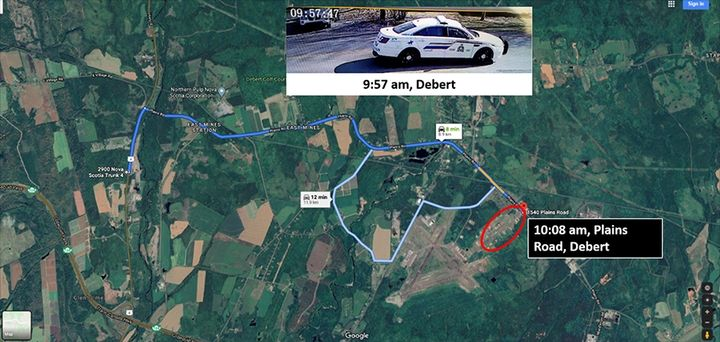 A map of a region of Nova Scotia shows the gunman's route. Inset of a still image taken from a video shows the gunman's replica police car. - Photo: Royal Canadian Mounted Police